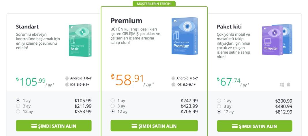 fiyatlandırma tablosu